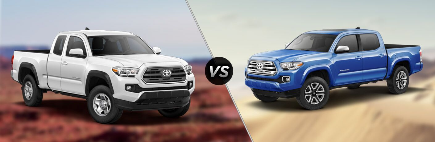 Split screen images of the 2018 Toyota Tacoma SR5 vs Limited