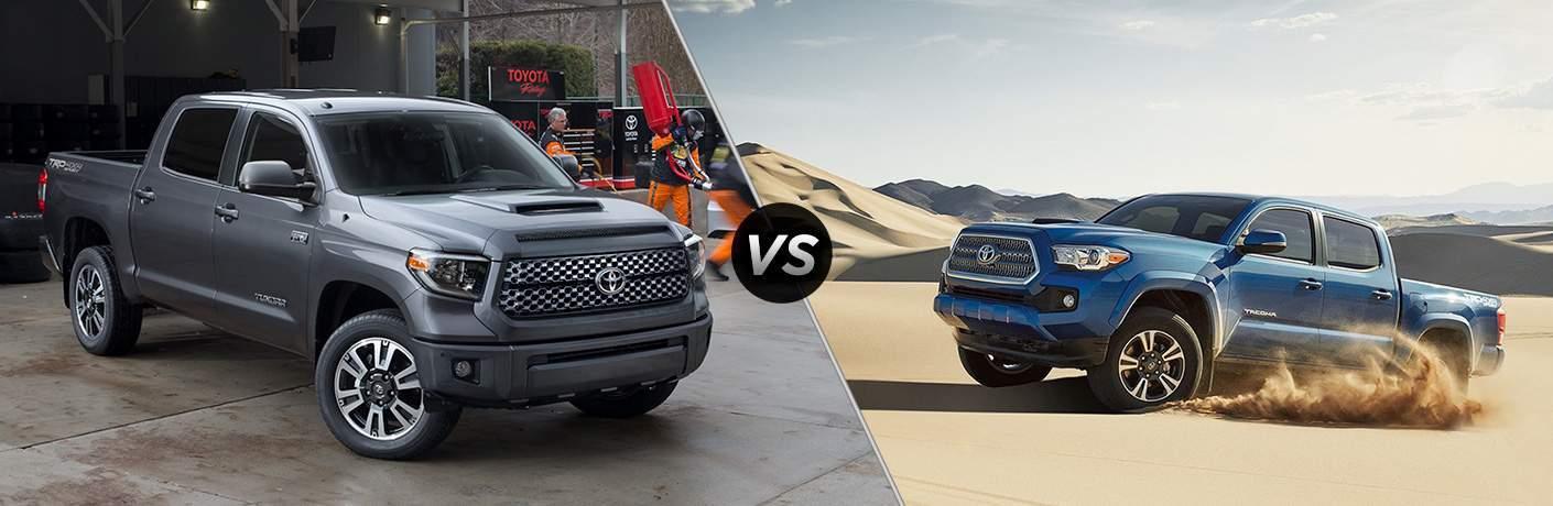 2018 Toyota Tundra in Gray vs 2018 Toyota Tacoma in Blue