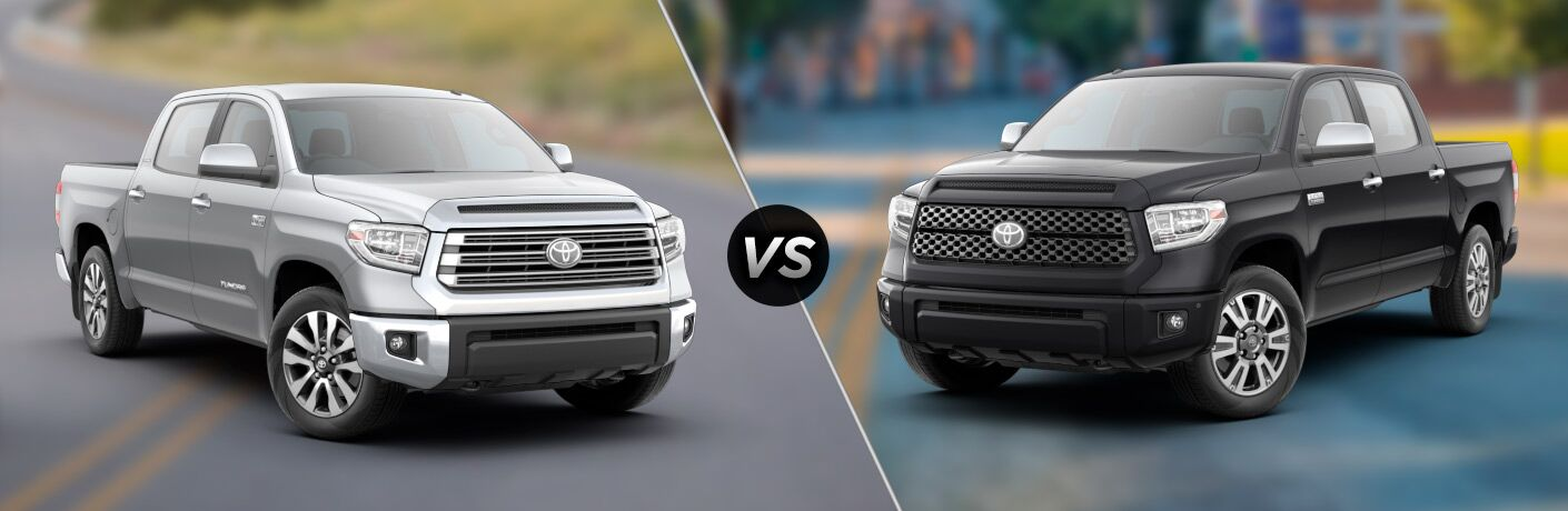 Split screen images of the 2018 Toyota Tundra Limited and Platinum trims