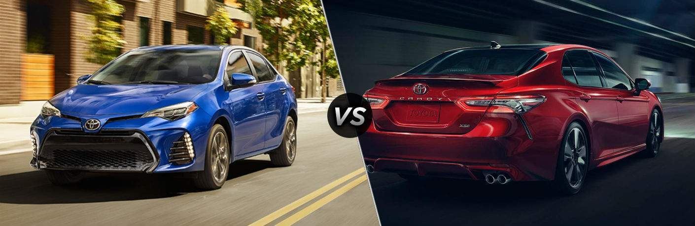 Captivating 2018 Toyota Corolla In Blue Vs 2018 Toyota Camry In Red