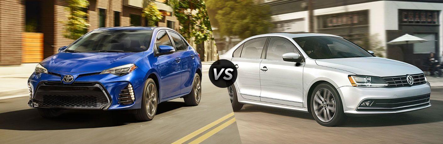 2018 Toyota Corolla in Blue vs 2018 Volkswagen Jetta in White