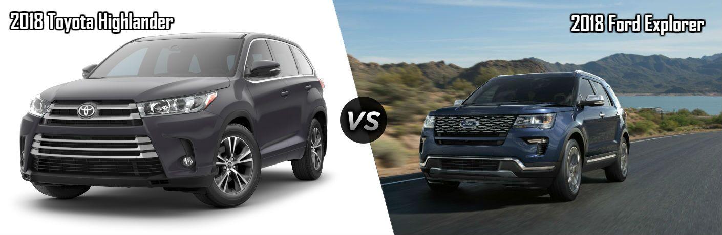2018 Toyota Highlander in Black vs 2018 Ford Explorer in Blue