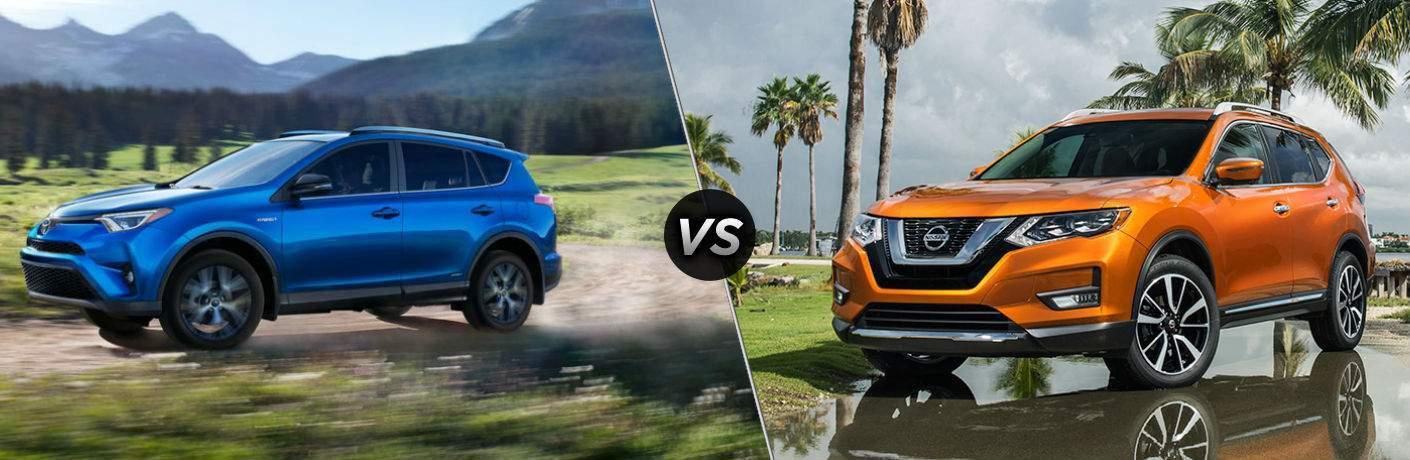 2018 Toyota RAV4 in Blue vs 2018 Nissan Rogue in Orange