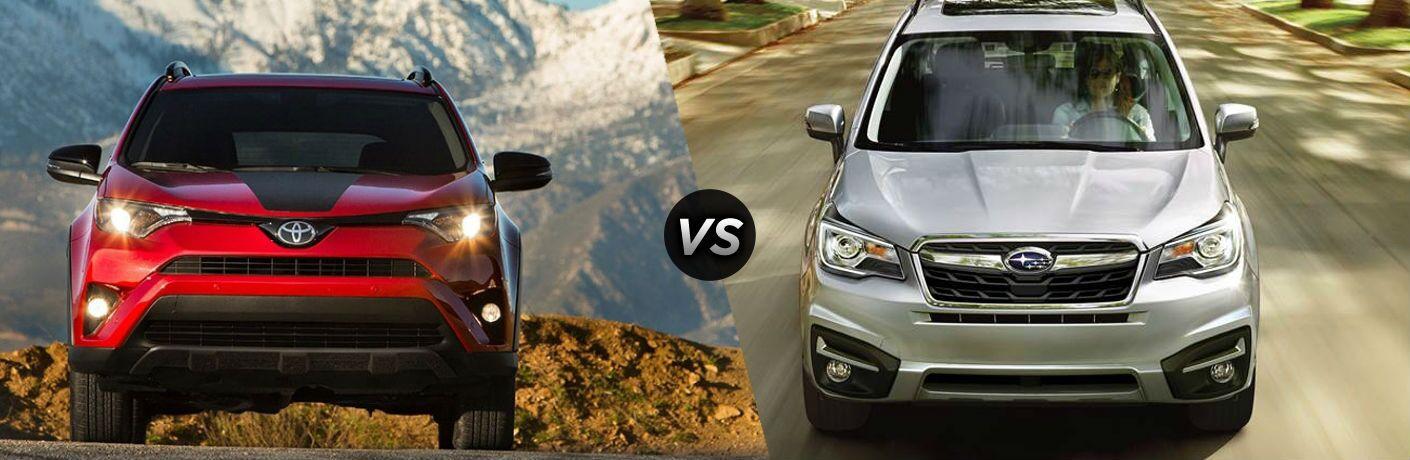 2018 Toyota RAV4 in Red vs 2018 Subaru Forester in Silver