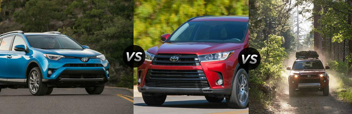 2018 Toyota RAV4 in Blue vs 2018 Toyota Highlander in Red vs 2018 4Runner in Red
