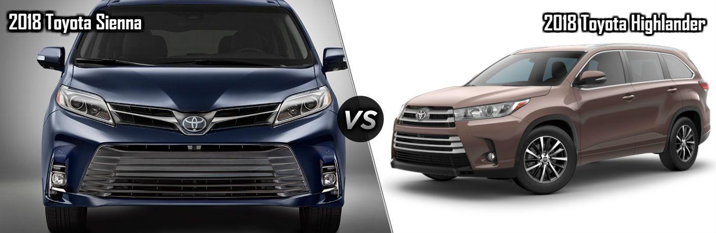 2018 Toyota Sienna in Blue vs 2018 Toyota Highlander in Brown