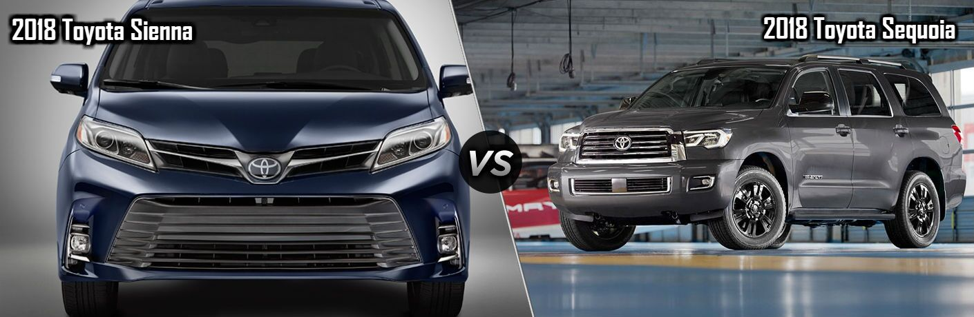 2018 Toyota Sienna in Blue vs 2018 Toyota Sequoia in Gray