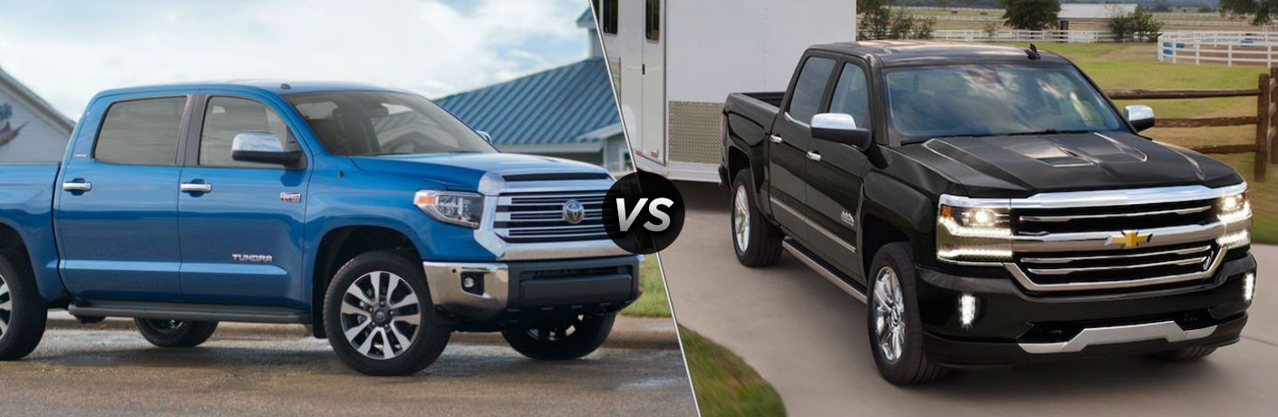 2018 Toyota Tundra in Blue vs 2018 Chevrolet Silverado 1500 in Black
