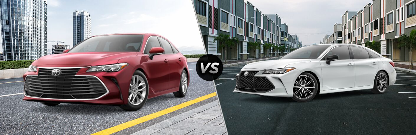 Split screen images of the 2019 Toyota Avalon XLE and XSE