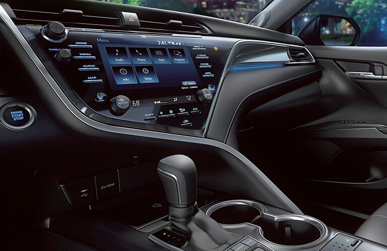 Interior view of center console in 2019 Toyota Camry