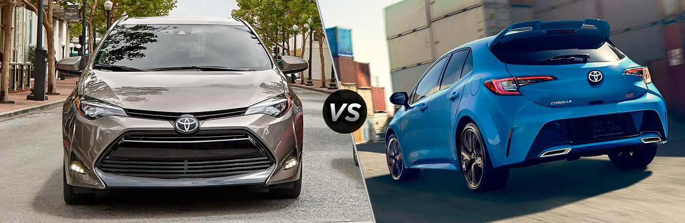 Split screen images of the 2019 Toyota Corolla and the 2019 Toyota Corolla Hatchback