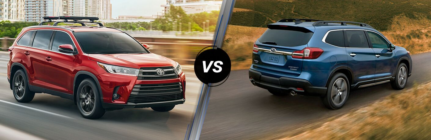 Split screen images of the 2019 Toyota Highlander and the 2019 Subaru Ascent