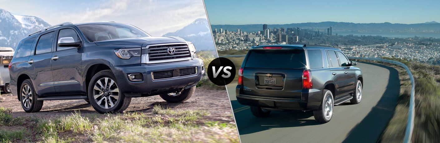 Split screen images of the 2019 Toyota Sequoia and the 2019 Chevy Tahoe
