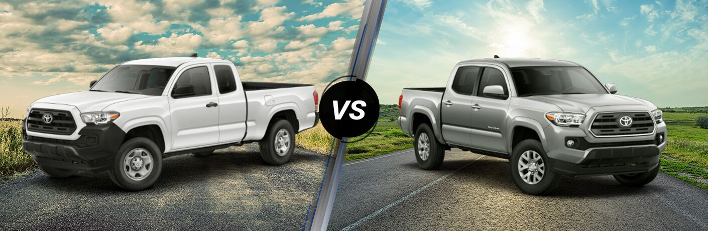 Split screen images of the 2019 Toyota Tacoma SR and SR5