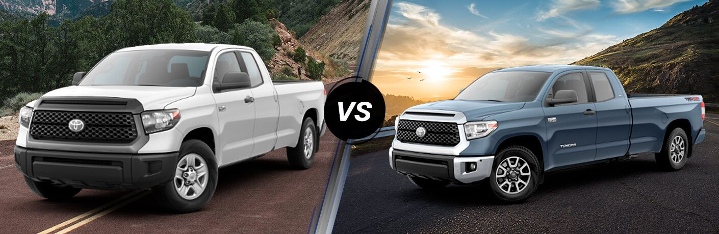 Split screen images of the 2019 Toyota Tundra SR and SR5