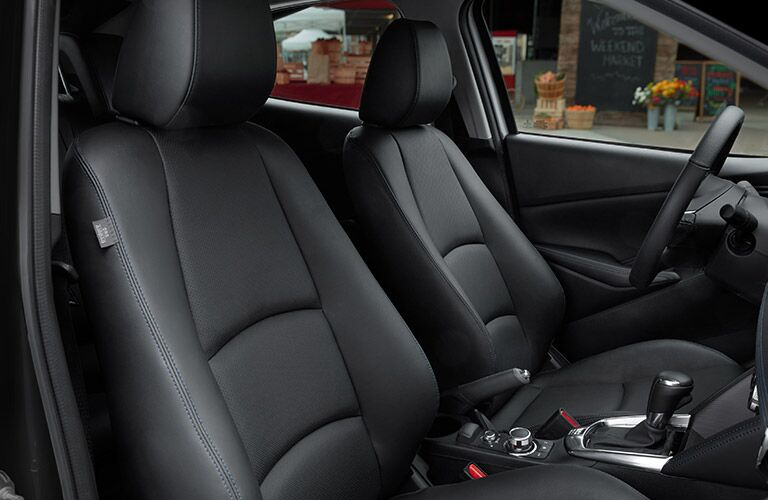 Front Seating in the 2019 Toyota Yaris Sedan in Black Coloring