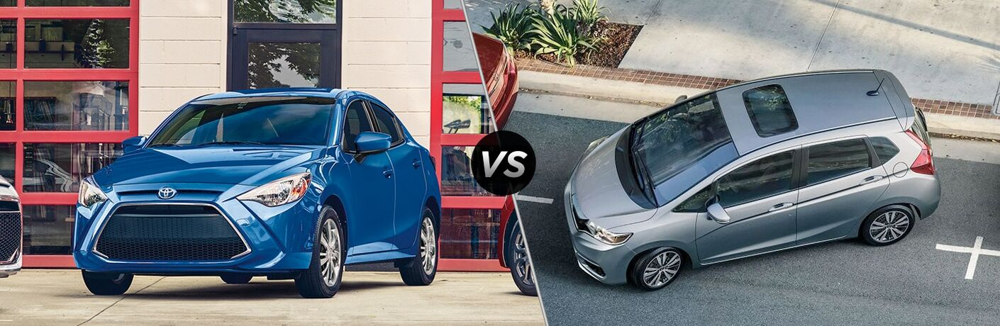 Split screen images of the 2019 Toyota Yaris and 2019 Honda Fit
