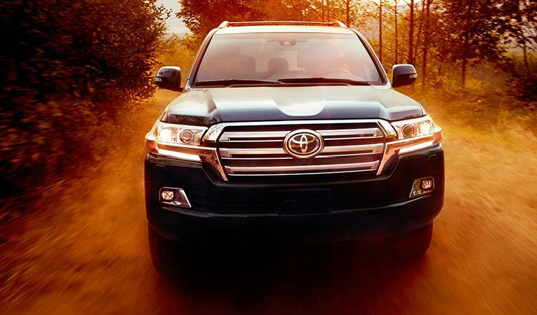 Front view of black 2019 Toyota Land Cruiser