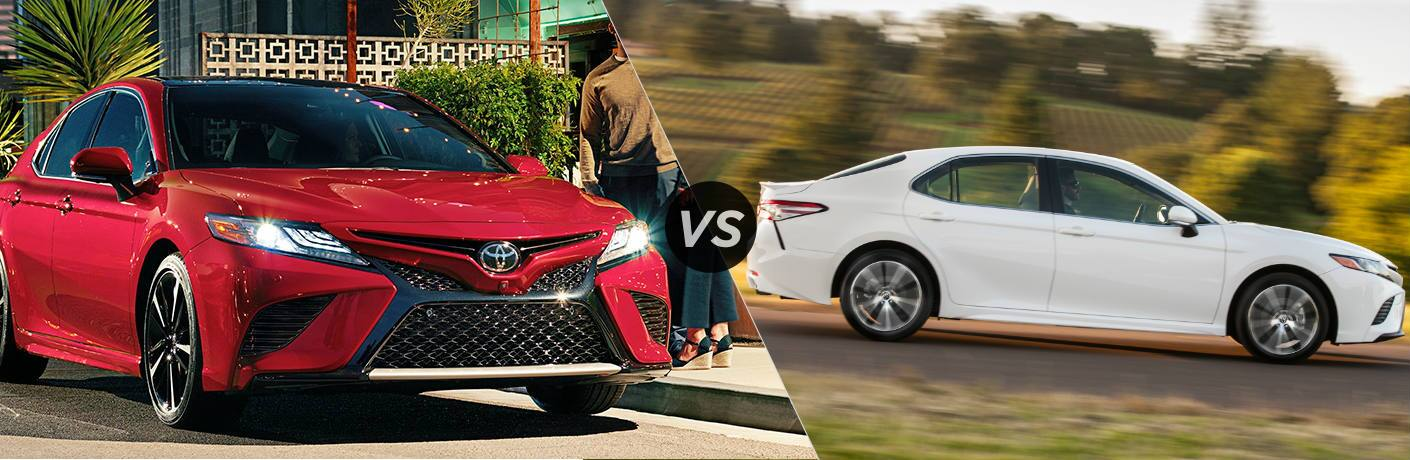 Split screen images of the 2019 Toyota Camry vs 2018 Toyota Camry