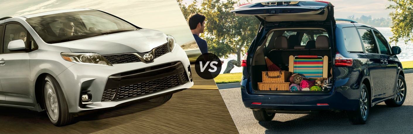 Split screen images of the 2019 Toyota Sienna and 2018 Toyota Sienna