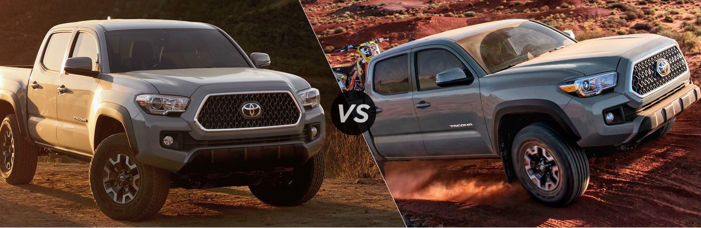 Split screen images of the 2019 Toyota Tacoma vs 2018 Toyota Tacoma