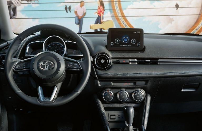 2019 Toyota Yaris steering wheel and dashboard