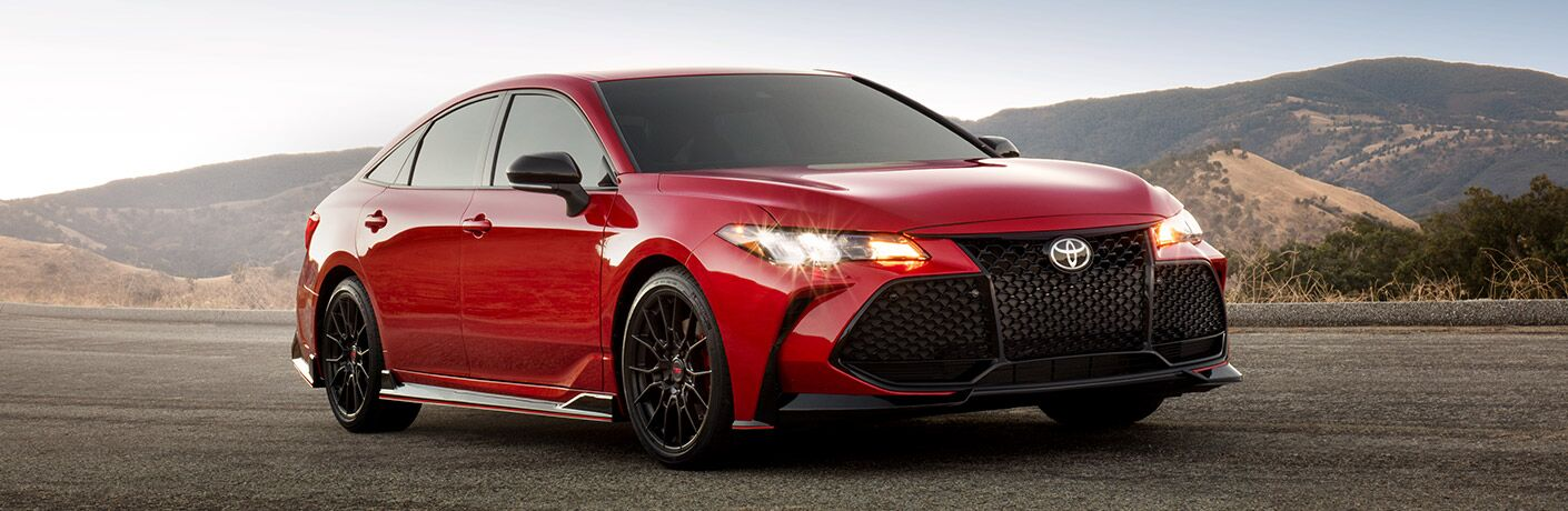 Exterior view of a red 2020 Toyota Avalon