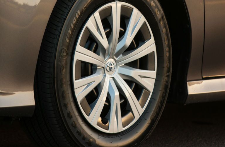 Closeup of wheel on 2020 Toyota Camry Hybrid
