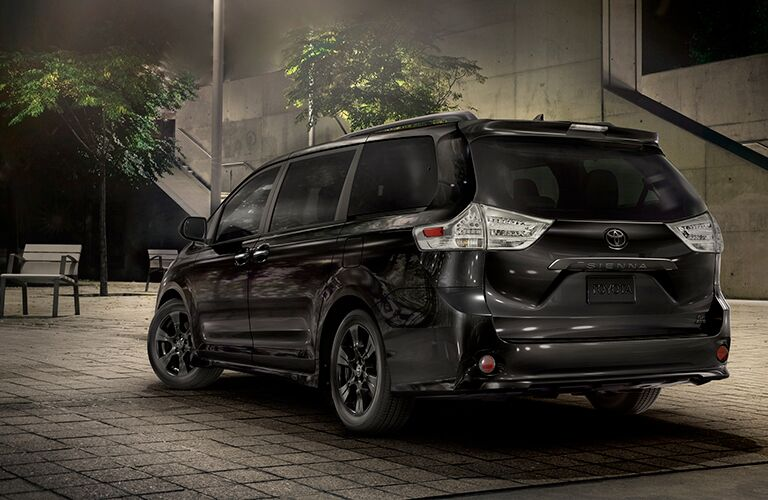 2020 Toyota Sienna Nightshade Edition parked near a street lamp at night