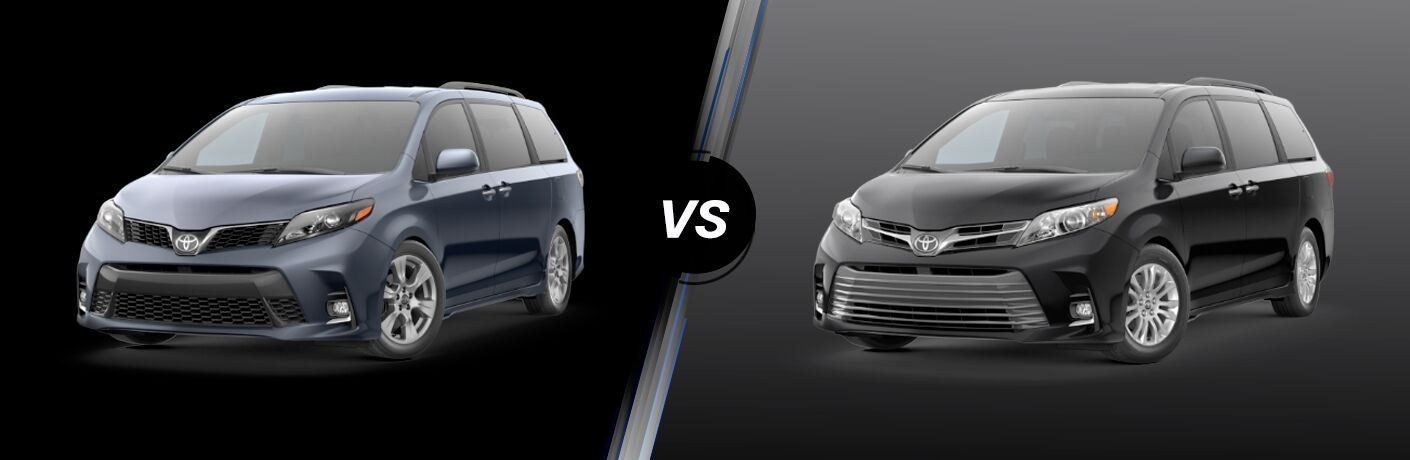 Split screen images of the 2020 Toyota Sienna SE and XLE
