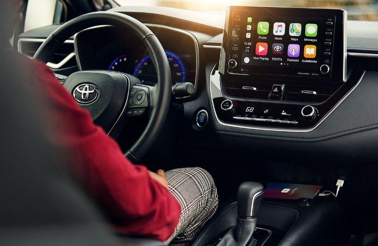 2020 Toyota Corolla interior with Apple CarPlay screen display