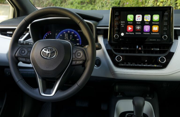 Steering wheel and dashboard in 2020 Toyota Corolla Hatchback