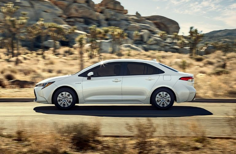 2020 Toyota Corolla driving through desert