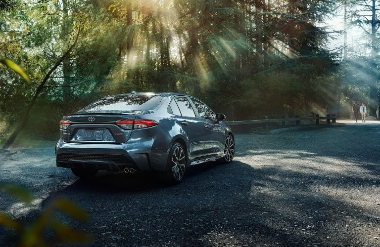 2020 Toyota Corolla parked near a park path