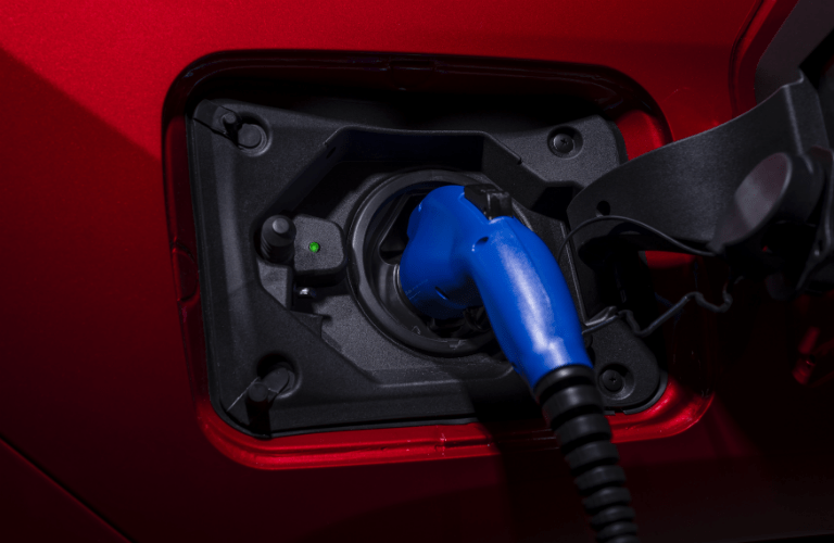 Closeup of 2021 Toyota RAV4 Prime charging