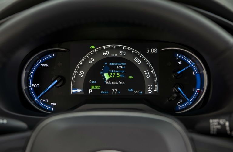 A photo of the center gauge cluster in the 2020 Toyota RAV4 Hybrid.