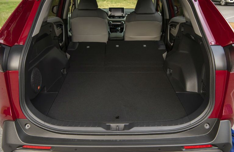 A photo of the cargo area in the 2020 Toyota RAV4 Hybrid.