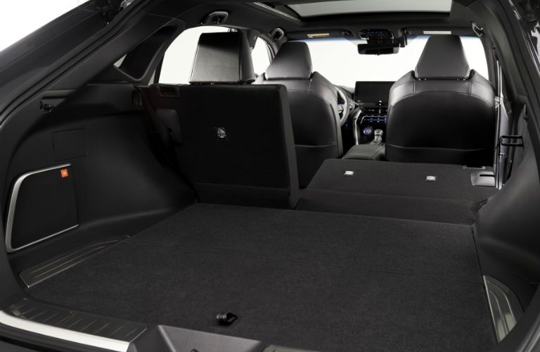 A photo of the cargo area in the rear of the 2021 Toyota Venza.