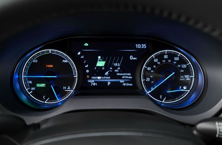 A photo of the digital gauge cluster used in the 2021 Toyota Venza.
