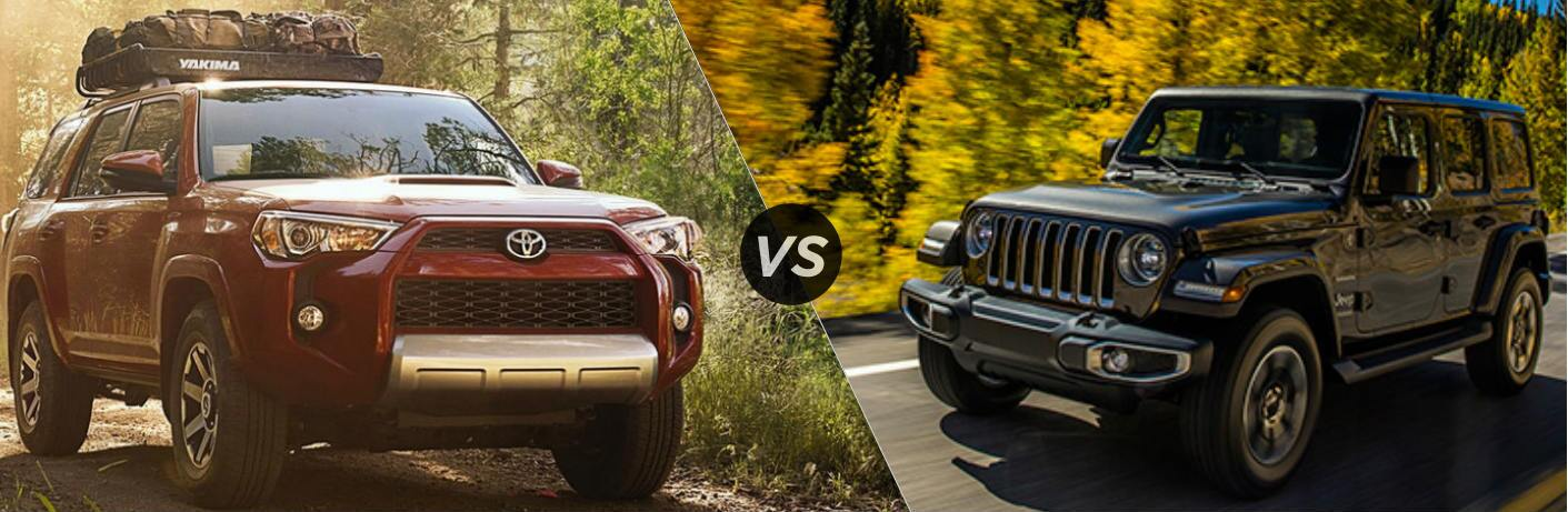 Split screen images of the 2018 Toyota 4Runner and the 2018 Jeep Wrangler
