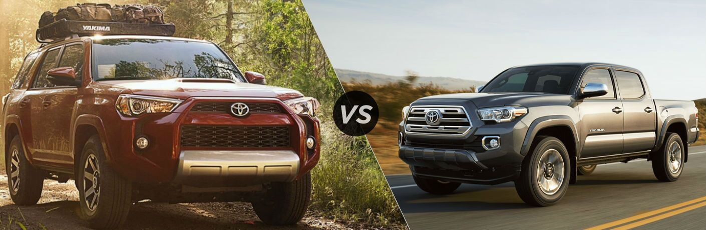 Split screen images of the 2018 Toyota 4Runner and the 2018 Toyota Tacoma