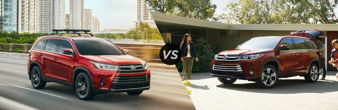 Split screen images of the 2019 Toyota Highlander SE and Limited