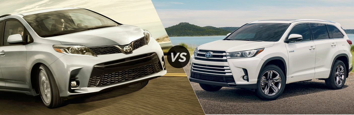 Split screen images of the 2019 Toyota Sienna and 2019 Toyota Highlander
