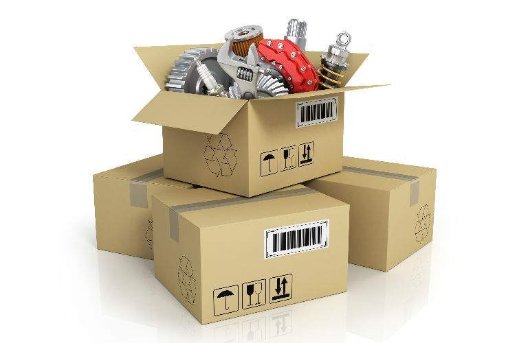 Various Parts in Cardboard Boxes