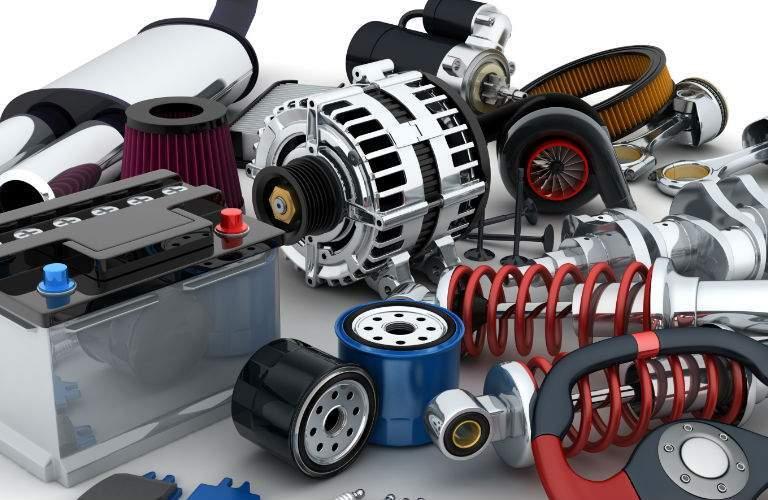 Various Automotive Parts on a White Background