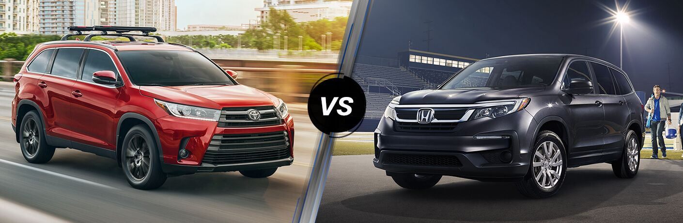 "Front passenger side exterior view of a red 2019 Toyota Highlander on the left ""vs"" front driver side exterior view of a black 2019 Honda Pilot on the right"