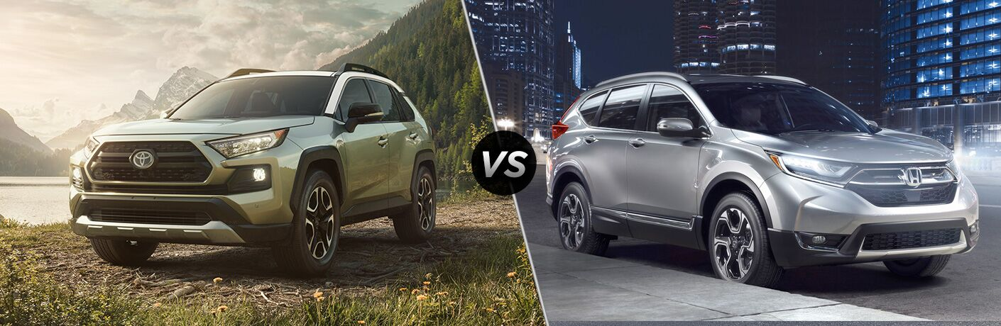 "Front driver side exterior view of a bronze 2019 Toyota Rav4 on the left ""vs"" passenger side exterior view of a gray 2019 Honda CR-V on the right"