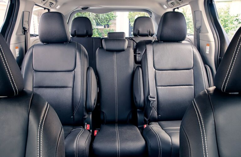 Looking into the rear seats of the 2019 Toyota Sienna from the front row seats