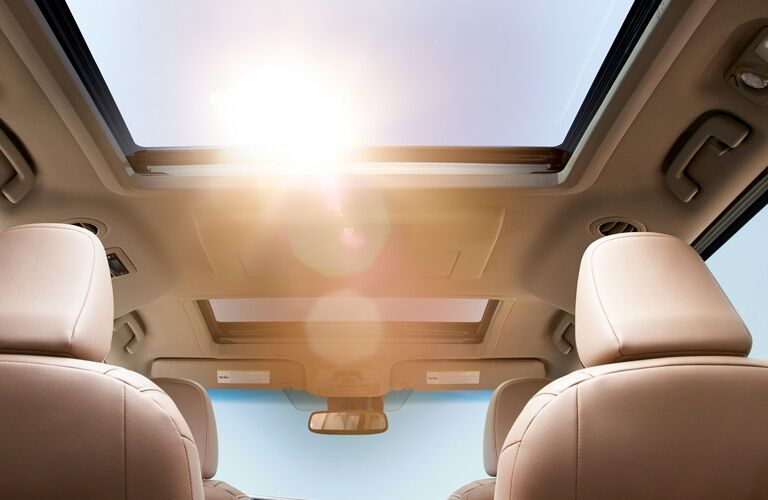 Looking out the available moon roof of the 2019 Toyota Sienna