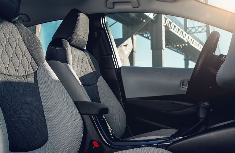 Side view of the front seats in the 2020 Toyota Corolla